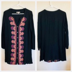 Skies are blue black embroidered button tunic